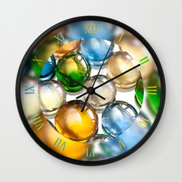 Coloured glass balls marbles Wall Clock