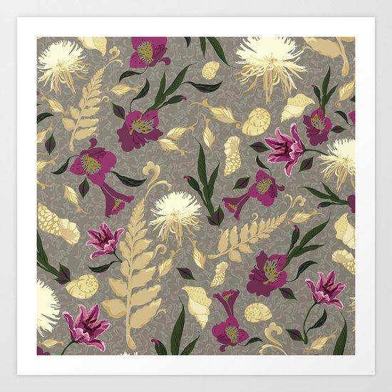 Flowers & Sea Shells Art Print