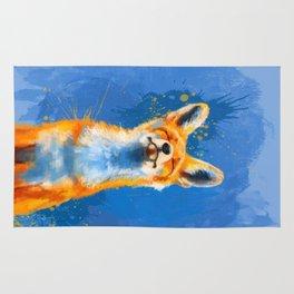 Happy Fox on blue background, inspirational animal art Rug
