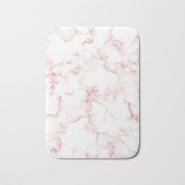 Pink Rose Gold Marble Natural Stone Gold Metallic Veining White Quartz Bath Mat