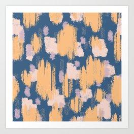 Blush peach and blue brushstroke painting digital abstract art Art Print