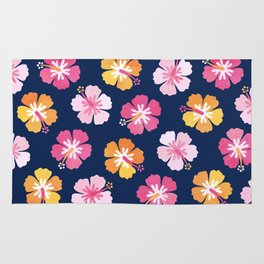 CANDY COLORED HIBISCUS on NAVY Rug