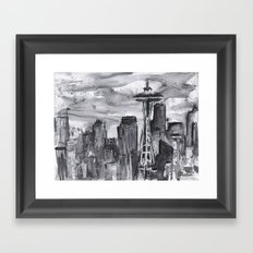 Seattle Skyline Watercolor Space Needle Washington PNW Framed Art Print