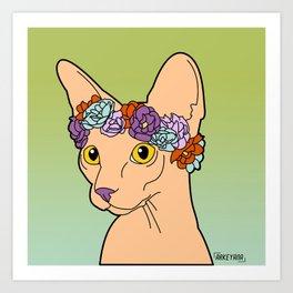 Flower Crown Sphynx Art Print