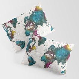 Watercolor world map with cities, Charleena Pillow Sham