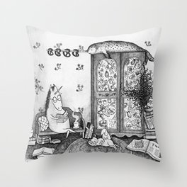 Unicorn house Throw Pillow