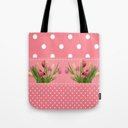 Tulips on a Coral Background Tote Bag