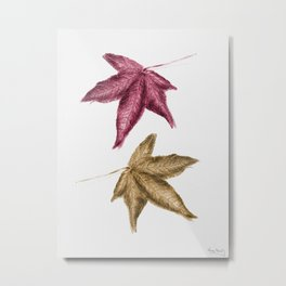 Red and Gold Leaves - Coloured pencil drawing Metal Print