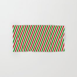 Christmas-Inspired Red, White, and Green Colored Pattern of Stripes Hand & Bath Towel
