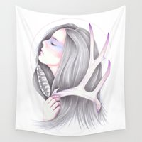 antler Wall Tapestries featuring Midnight Sun by Andrea Hrnjak
