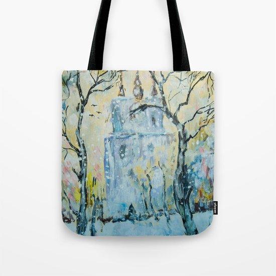 winter cityscape Tote Bag