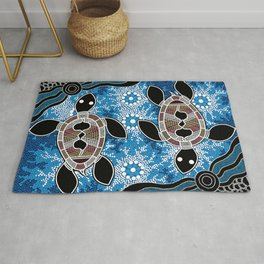 Aboriginal Art - Sea Turtles Rug