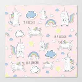 I'm a Unicorn - light pink Canvas Print
