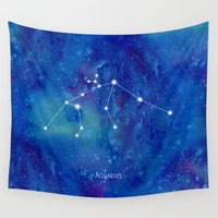constellation Wall Tapestries featuring Constellation Aquarius by ShaMiLa