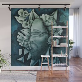 Chaotic Disorders ONE - Deep Turquoise Wall Mural