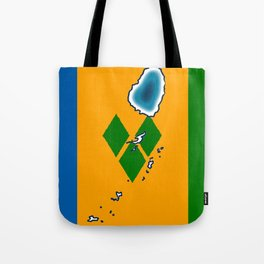 St Vincent and the Grenadines Flag with Island Maps Tote Bag