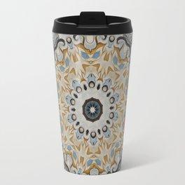 Blue and yellow floral mandala 41 Travel Mug