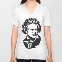 beethoven V-neck T-shirts featuring Beethoven by b & c