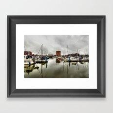 Hull Marina in the Rain Framed Art Print