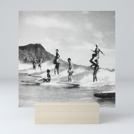 Vintage Hawaii Tandem Surfing Mini Art Print