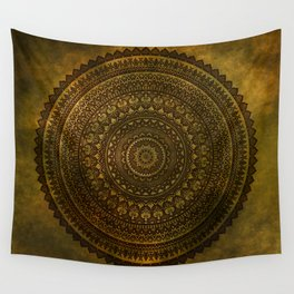 Lime Brown Mandala Wall Tapestry