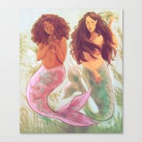 mermaids Canvas Prints featuring Mermaids by Beverly Johnson