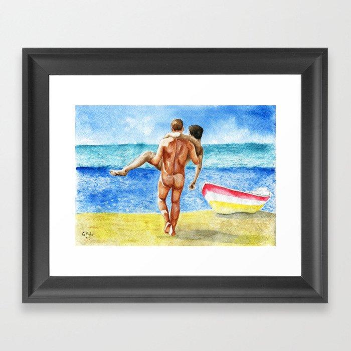 On the beach Gerahmter Kunstdruck