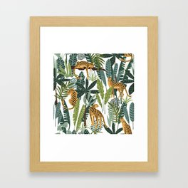LEOPARD JUNGLE PATTERN (white) Framed Art Print