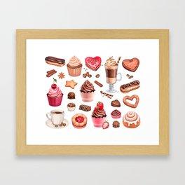Coffee, chocolate eclair, cinnamon bun and cupcakes illustrations Framed Art Print