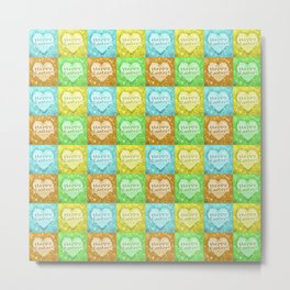 Colorful Happy Easter Theme Pattern Metal Print