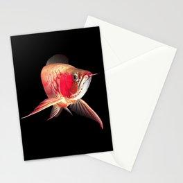 Super red arowana_Black background Stationery Cards