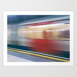 Speeding in London Underground Station Art Print