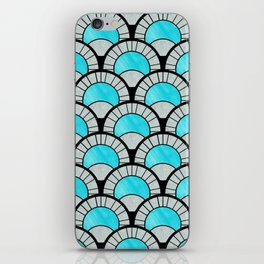 Aqua Art Deco Twenties Fan Pattern iPhone Skin