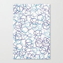 Blue Geometrics, Watercolour Canvas Print