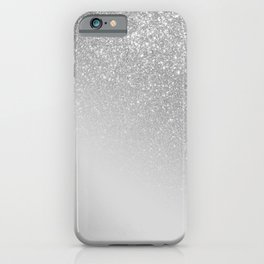 Diagonal Gray Silver Glitter Gradient Ombre iPhone Case
