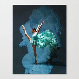 -O1- Blue Ballet Dancer Deep Feelings. Canvas Print