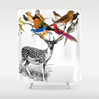 birdy Shower Curtains featuring Deer Birdy by The Love Shop
