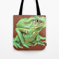 frog Tote Bags featuring Frog by Emily A Robertson