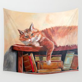 Red cat on a bookshelf Wall Tapestry