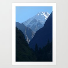 Pines and Mountains near Dharapani Art Print