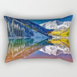 Fall Season at Maroon Bells Panorama Rectangular Pillow