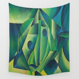 Cubist Abstract Of Village Woman Wearing A Headscarf Wall Tapestry