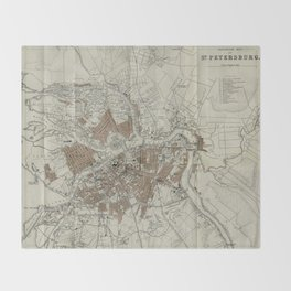 1893 Historic Map of St. Petersburg Throw Blanket