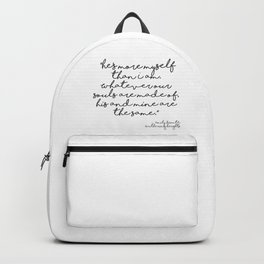 More myself than I am - Bronte quote Backpack