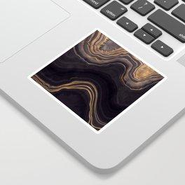 Dark Night Marble With Gold Glitter Waves Sticker