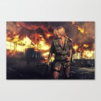 military Canvas Prints featuring Military woman  by netfalls