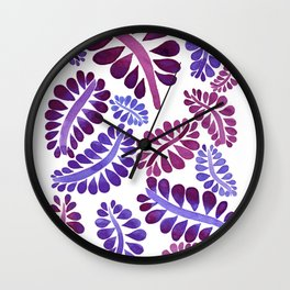 Pink leaves painting Wall Clock