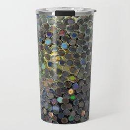 Silver Dot Reflection - Abstract Photo of Illuminating Circular Colorful Reflections Travel Mug
