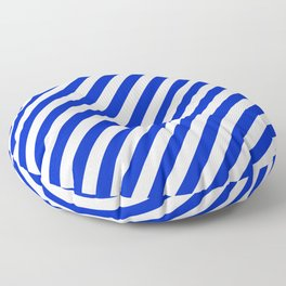 Cobalt Blue and White Wide Candy Cane Stripe Floor Pillow