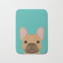 French BUlldog portrait dog breed custom pet portraits by pet friendly frenchie Bath Mat